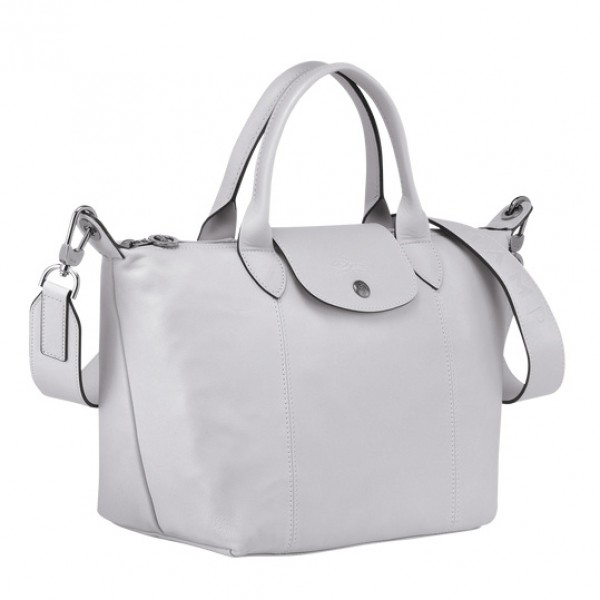 Grey sale Longchamp Le Pliage Cuir Top Handle Bag with Leather Material