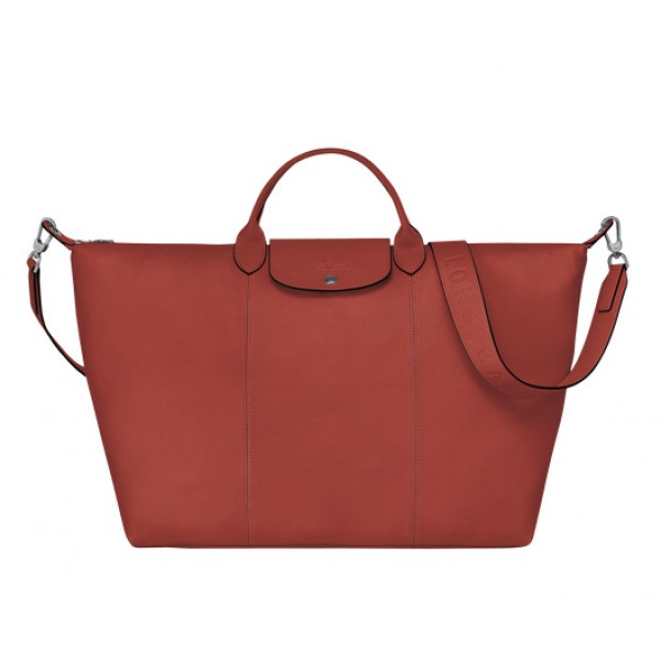 Sienna outlet Longchamp Le Pliage Cuir Travel bag with Leather Material