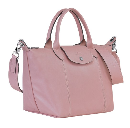 Antique Pink discount Longchamp Le Pliage Cuir Top Handle Bag with Leather  Material