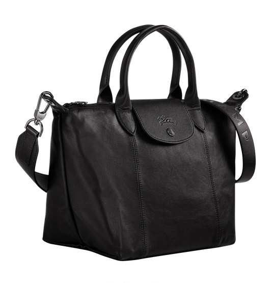 Black outlet Longchamp Le Pliage Cuir Top Handle Bag with Leather Material