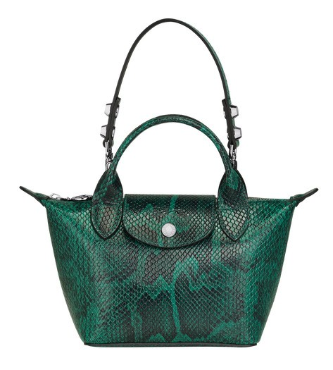 Green discount Longchamp Le Mini Pliage Cuir Top Handle Bag with Leather  Material
